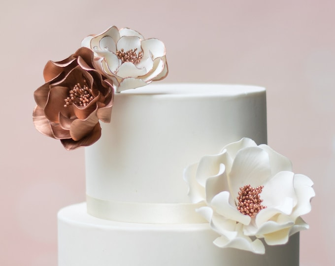 Featured listing image: Rose Gold Open Rose Sugar Flower Arrangement - set of 3 flowers - Wedding Cake Topper