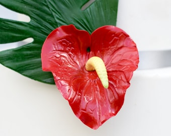 Anthurium Lily Sugar Flower Red Tropical Cake Topper