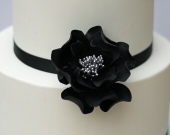 Black and Silver Open Rose Sugar Flower Wedding Cake Topper