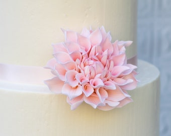 "Dahlia Sugar Flower - Medium 3"" Blush Dahlia - Unique Wedding Cake Topper - Gumpaste Flower READY TO SHIP"