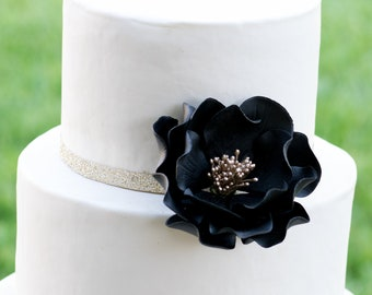 Black and Gold Open Rose Sugar Flower Wedding Cake Topper READY TO SHIP