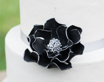 Black and Silver Open Rose Sugar Flower with Silver Edging READY TO SHIP wedding cake topper