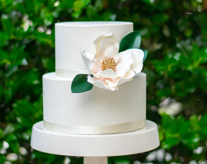 Featured listing image: Magnolia Sugar Flower with Blush Details and Gold Center - Unique Wedding Cake Topper and Gumpaste Decorations