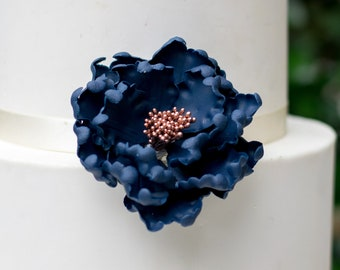 Navy and Rose Gold Peony Sugar Flower - ready to ship - wedding cake topper