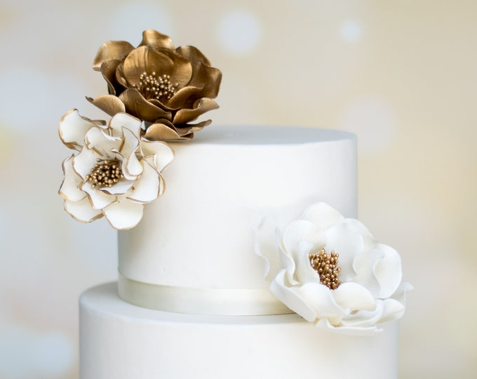 Featured listing image: Gold Open Rose Sugar Flower Arrangement - set of 3 flowers - Wedding Cake Topper