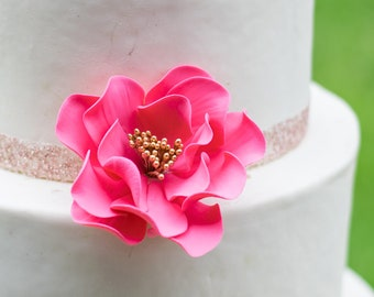 Hot Pink Open Rose with Gold Center for wedding cake decoration, gumpaste flower, cake topper