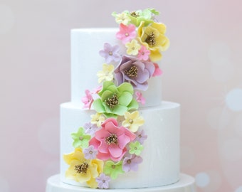 Rainbow Pastel Sugar Flower Cascade Unique Cake Topper