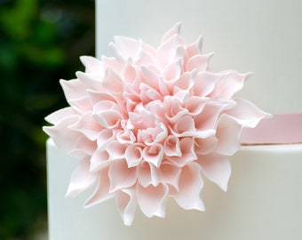 "Blush Dahlia Sugar Flower 4"" Wide, Perfect for a wedding cake topper"