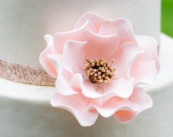 Blush Pink Open Rose Sugar Flower with Gold Center - Wedding cake decoration