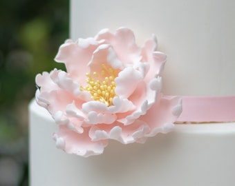 Blush Peony Sugar Flower with Yellow Stamens Cake Topper