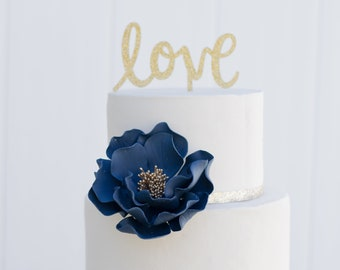 Navy and Gold Open Rose Sugar Flower - Unique Wedding Cake Topper