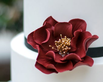 Burgundy and Gold Open Rose Sugar Flower - Wedding Cake Topper, Sugar Flowers, Unique Cake Decoration, Gumpaste Flower, Cranberry