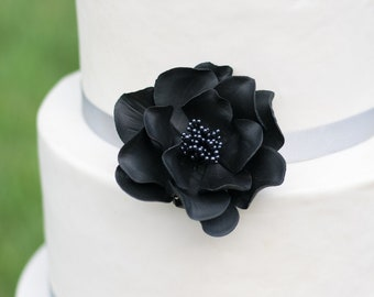 Black Open Rose Sugar Flower Wedding Cake Topper