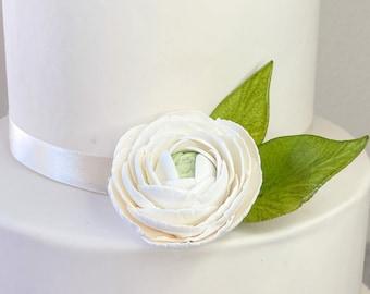 White Ranunculus sugar flower wedding cake topper