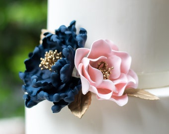Navy and Pink Sugar Flower Arrangement - Peony and Open Rose - Bridal Shower Cake Topper