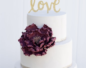 Burgundy and Rose Gold Open Peony Sugar Flower Gumpaste Wedding Cake Topper