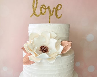 Extra Large Rose Gold Gumpaste Open Rose - Valentine's Day Cake Topper - READY TO SHIP