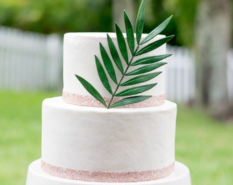 Small Green Palm Leaf for Sugar Flower Arrangements and Tropical Wedding Cake Toppers