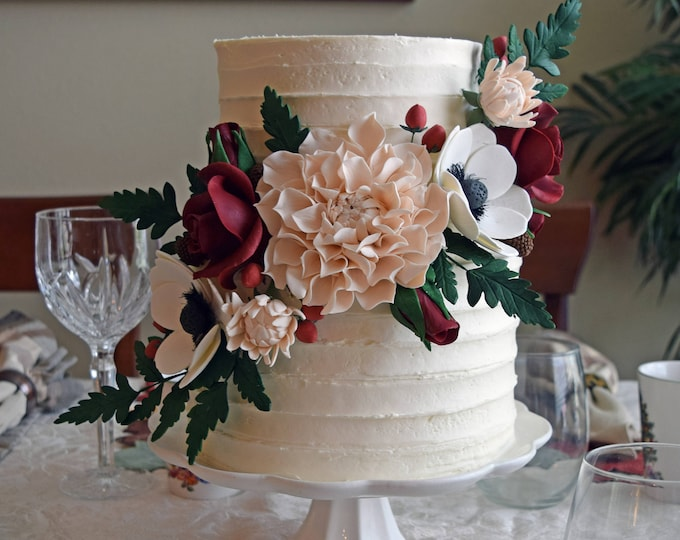 Featured listing image: Blush and Burgundy Sugar Flower Arrangement Cake Topper including Dahlias, Anemones, Roses, and Fern Leaves