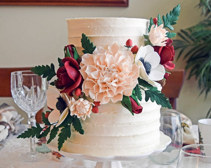 Featured listing image: Blush and Burgundy Sugar Flower Arrangement Cake Topper
