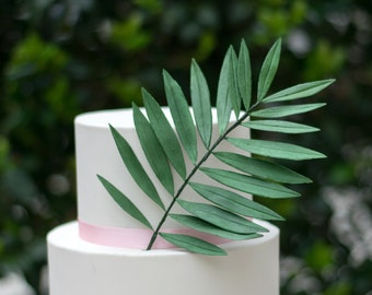 Large Green Palm Leaf for Sugar Flower Arrangements and Tropical Wedding Cake Toppers
