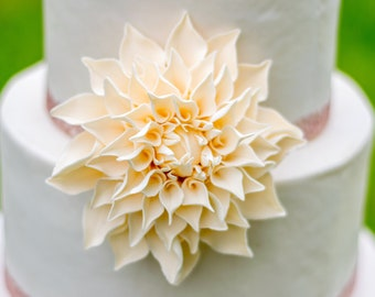 "Ivory Dahlia 4"" Sugar Flower Wedding Cake Topper"