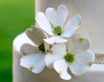 Dogwood Sugar Flowers, set of 3, wedding cake toppers