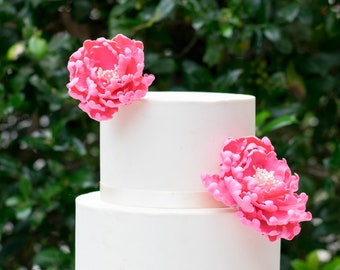 Hot Pink Open Peonies Sugar Flower Gumpaste Wedding Cake Topper