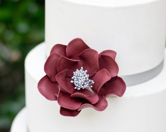 Burgundy and Silver Open Rose Sugar Flower - Wedding Cake Topper