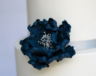 Navy Blue and Silver Open Peony Gumpaste Flower Unique Wedding Cake Topper and Sugar Flower Decoration READY TO SHIP