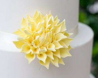 "Yellow 3"" Dahlia Sugar Flower - Unique Wedding Cake Topper"