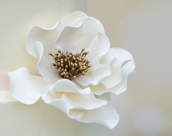White and Gold Open Rose Sugar Flower wedding cake topper and gumpaste cake decoration