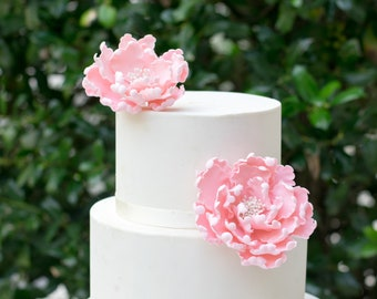Pink Peonies Sugar Flowers set of 2 Gumpaste Wedding Cake Topper