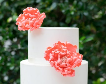 Coral Open Peonies Sugar Flower Gumpaste Wedding Cake Topper