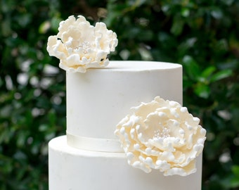 Ivory Peonies Sugar Flowers set of 2 Gumpaste Wedding Cake Topper