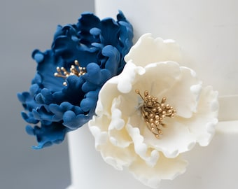 "3"" Navy and 2"" Ivory Open Peony with Gold Stamens Sugar Flower Gumpaste Wedding Cake Topper"