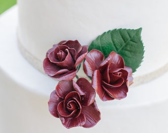 Spray Roses - set of 3 Burgundy Sugar Flower Spray Roses