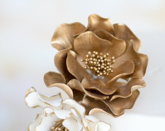 Gold Open Rose Sugar Flower for wedding cake toppers, READY TO SHIP