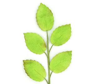Light Green Rose Leaf Spray for wedding cake toppers, gumpaste cake decorations