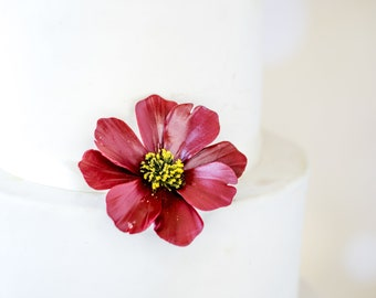 Burgundy Cosmos Sugar Flower wedding cake topper