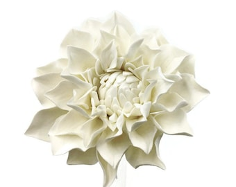 "Dahlia Sugar Flower - Medium 3"" White Dahlia - Unique Wedding Cake Topper - Gumpaste Flower"