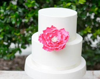 Hot Pink Peony Sugar Flower - Unique wedding cake topper - Gumpaste Peonies