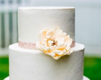 Ivory and Gold Peony Sugar Flower - Unique Wedding Cake Topper - Gumpaste Flowers - Cream Peonies - Modern Wedding Decor
