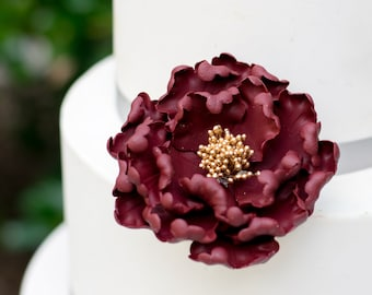 Burgundy and Gold Open Peony Sugar Flower Unique Cake Topper - READY TO SHIP