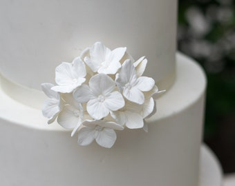 12 White Hydrangea Gumpaste Sugar Flowers for Wedding and Bridal Shower Cake Toppers