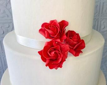 Spray Roses - set of 3 Red Sugar Flower Spray Roses