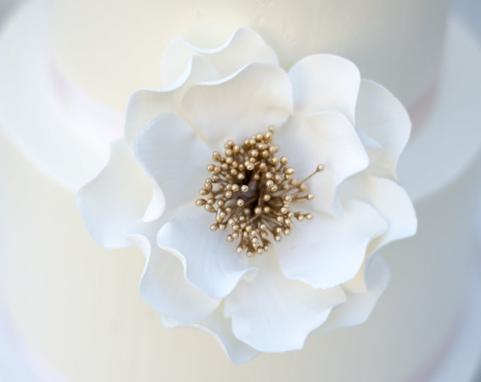 Featured listing image: White and Gold Open Rose Sugar Flower