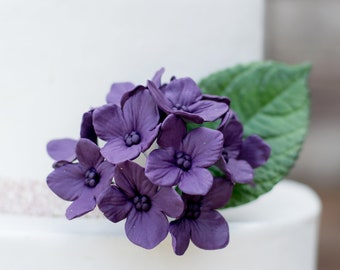 12 Hydrangea Gumpaste Sugar Flowers in Purple for Wedding and Bridal Shower Cake Topper