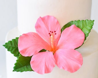 Pink Hibiscus Sugar Flower wedding cake topper