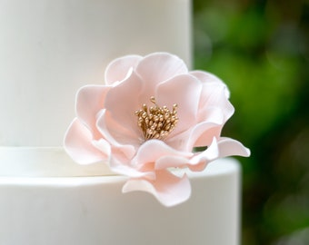 Blush and Gold Open Rose Sugar Flower READY TO SHIP for gumpaste cake decoration and unique wedding cake toppers